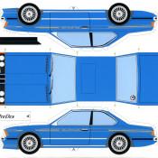 BMW 635i E24 paper blu